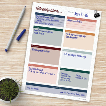 Boho Large Weekly Task Pad