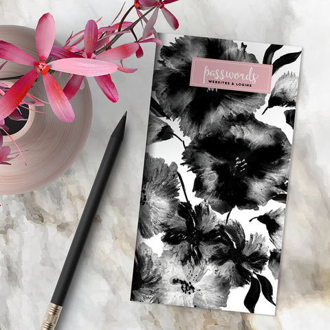 Pink & Black Floral Password Book