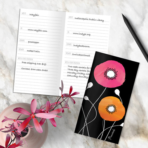 Poppies Floral Password Book