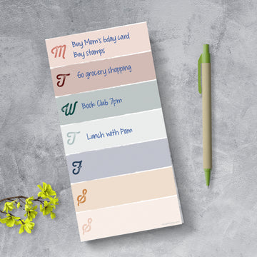 Weekly Color Block Boho Magnet List Pad