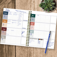 Moody Blue Boho Undated Medium Weekly Monthly Spiral Planner