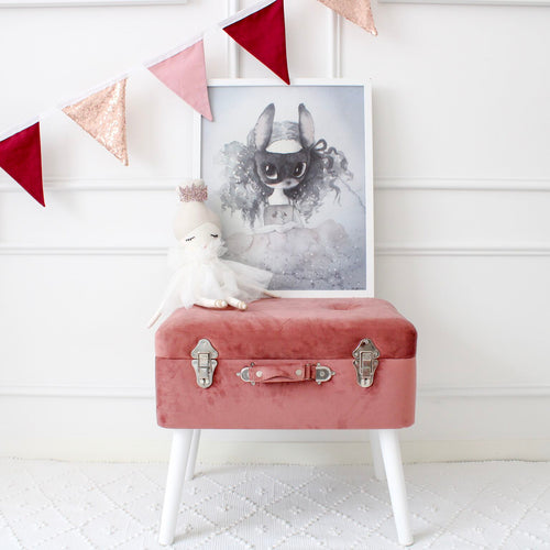 Velvet Storage Stool - Dusty Pink