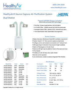 HealthyAir® Source Capture Air Purification System - Dual Inlet