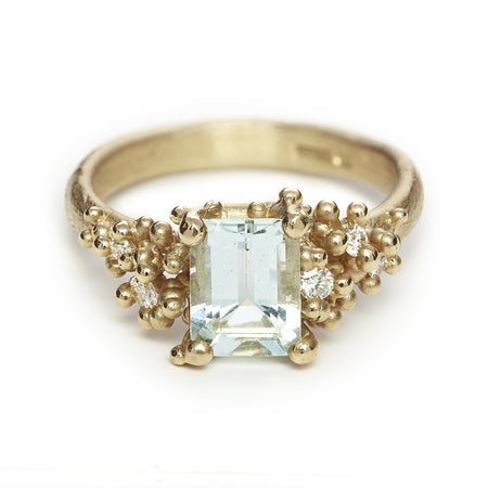 Ruth Tomlinson - Aquamarine and Diamond Encrusted Ring