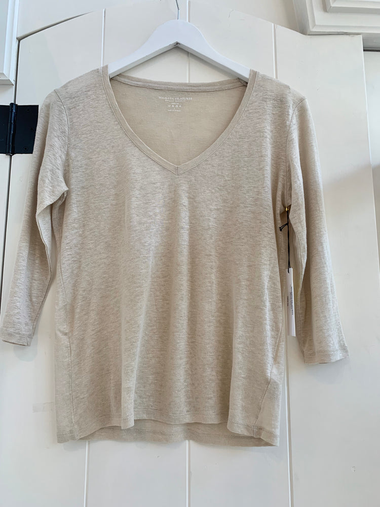 Majestic Filatures - Linen Long Sleeve V-Neck