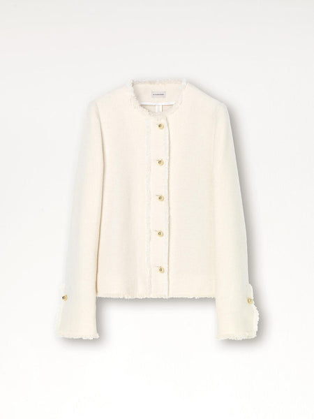 Malin Coat,Tailored Jacket, Soft White, Sleeve Detail, Elegant Blazer, Fringed Edges, by Malene Birger, Lightweight Jacket, Gold buttons, Gold Detailed Jacket, Cotton, Wool, Acrylic, Polyester