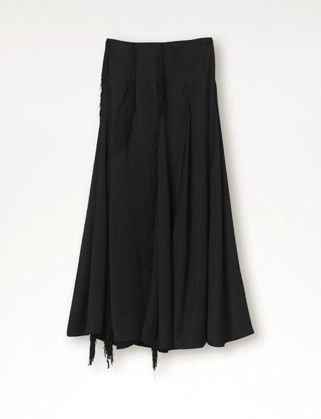 By Maline Birger, Women's Skirt, Calcia Skirt, A-line silhouette, Vicose, Polyester, Black Skirt, Bernstein and Gold