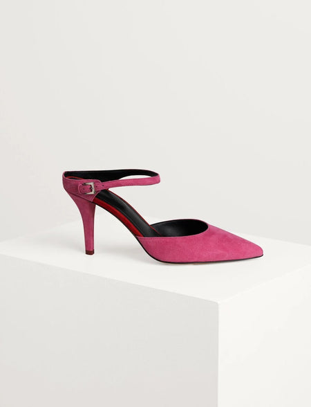 d'Orsay-cut, mid-heel pump, Malene Birger Canada, Ankle Strap, Suede,  Heel 9.5 cm, 100% Suede, Made in Italy