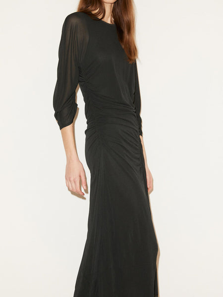 By Maline Birger, Rounded Neckline, 3/4 sleeves, Ruching, Midi-Length,Versatile, Black Dress, Viscose