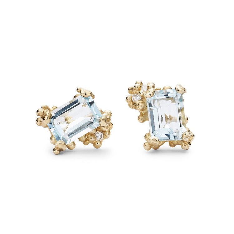 Ruth Tomlinson - Emerald Cut Aquamarine and Diamond Studs
