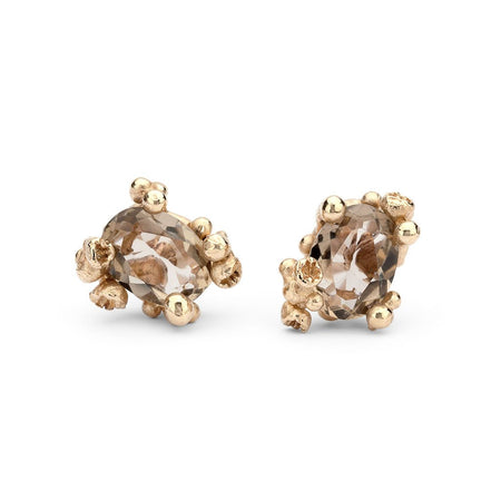 Ruth Tomlinson -  Smoky Quartz Studs with Barnacles