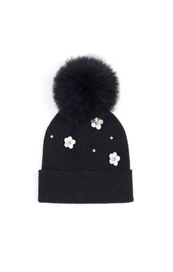 Echo - Embellished Flower Hat With Feather Pom