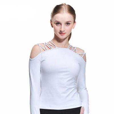 Laced Shoulder Long Sleeved Workout Top - Secret Athlete