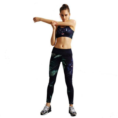 Jaguar Leaf Printed 2 Piece Gym Set - Secret Athlete