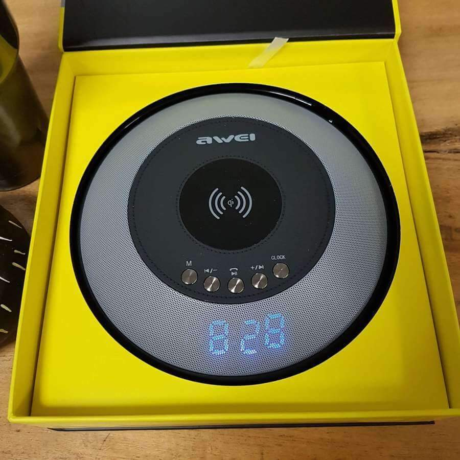 Awei Fast Wireless Charger with Wireless Speaker & Alarm Clock
