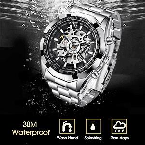 Luxury Automatic Mechanical Business Men Skeleton Watch