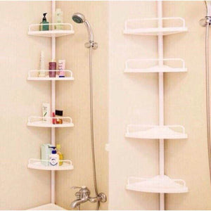 4 Tier Adjustable Kitchen Bathroom Shower Corner Shelf Rack