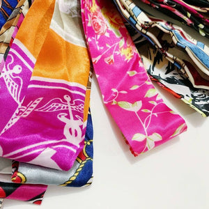 Printed Silk Twilly Scarf for Handbag