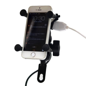 Universal Motorcycle Mobile Phone Clamp with Charger