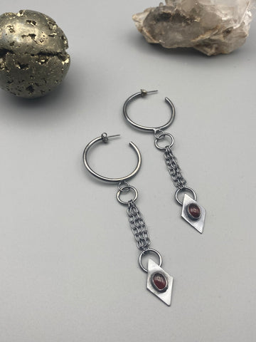 chained garnet hoops