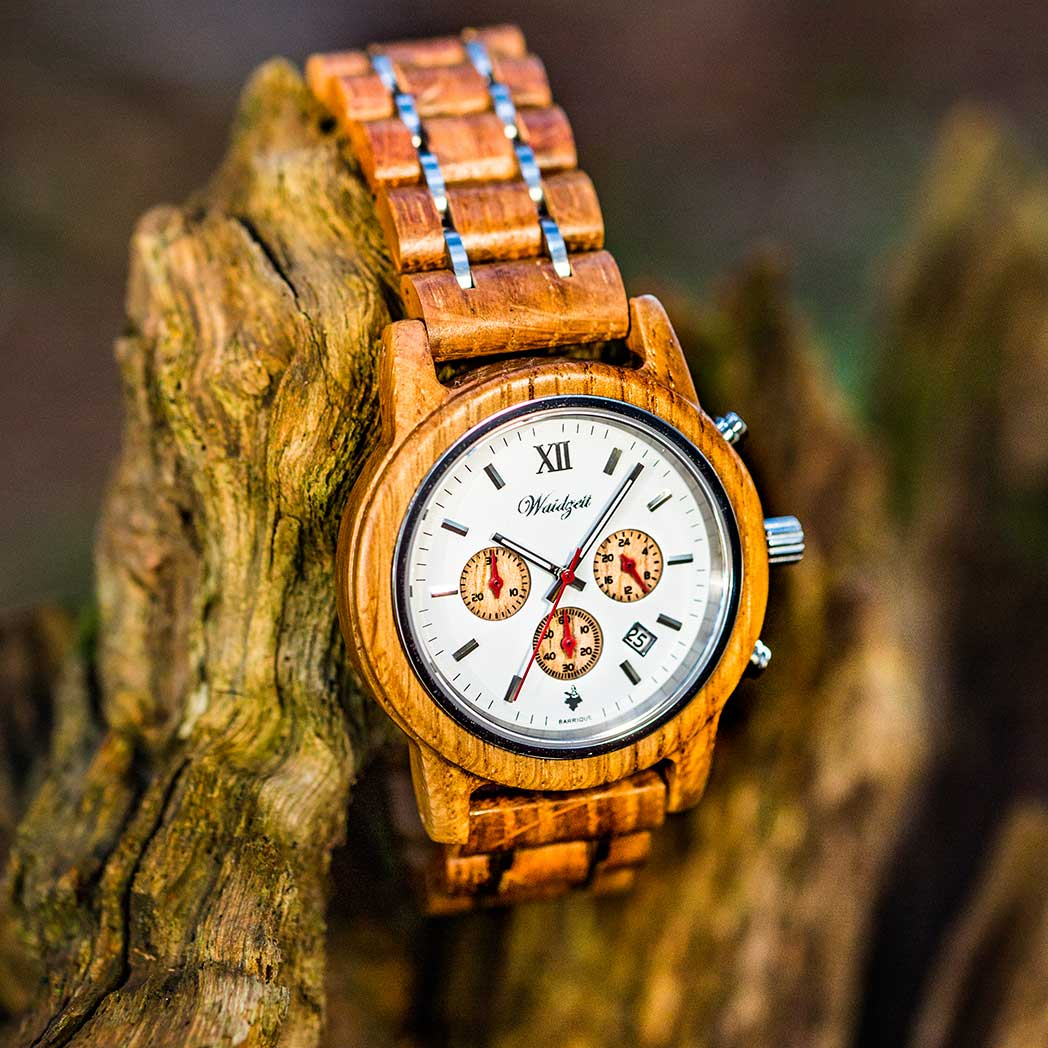 Barrique barrel wood watch cronograph