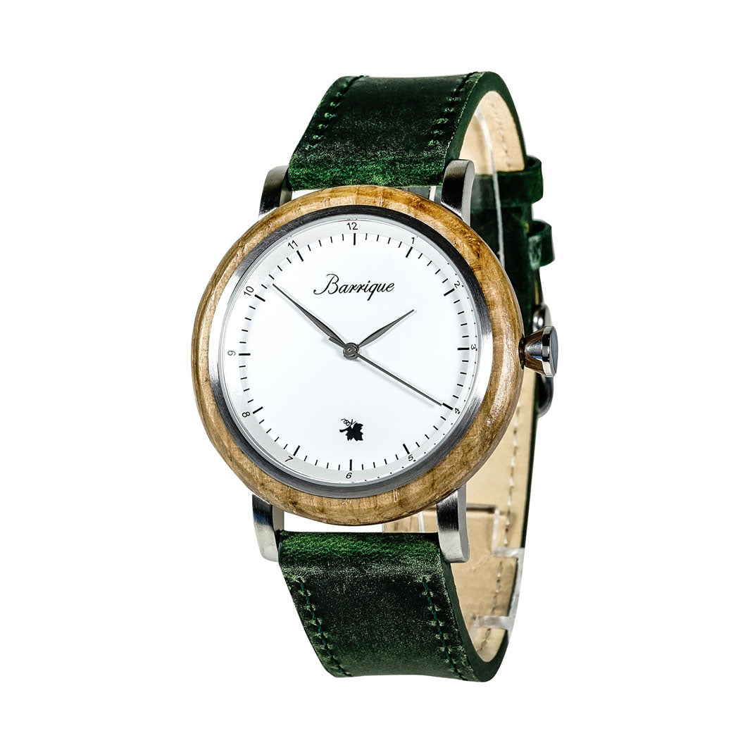 Barrique grapevine wine barrel wood watch 40mm leather strap