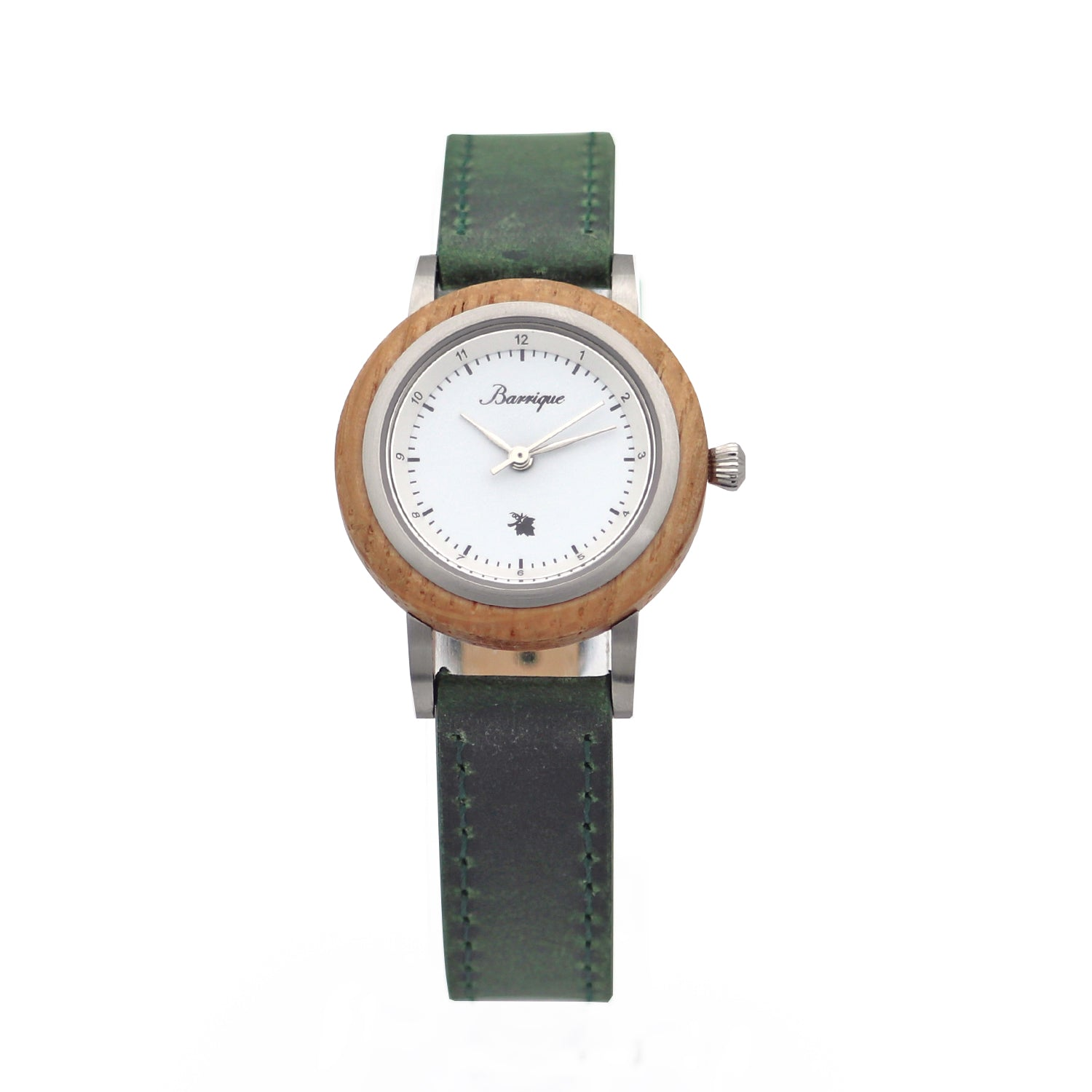 Grapevine Barrique wine barrel wood watch leather green strap women 30mm