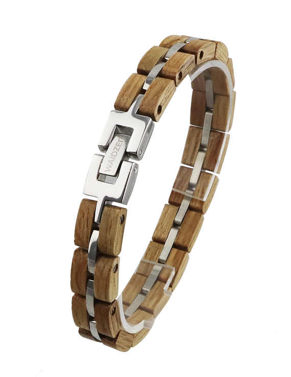 Barrique wooden bracelet whisky grain stainless silver