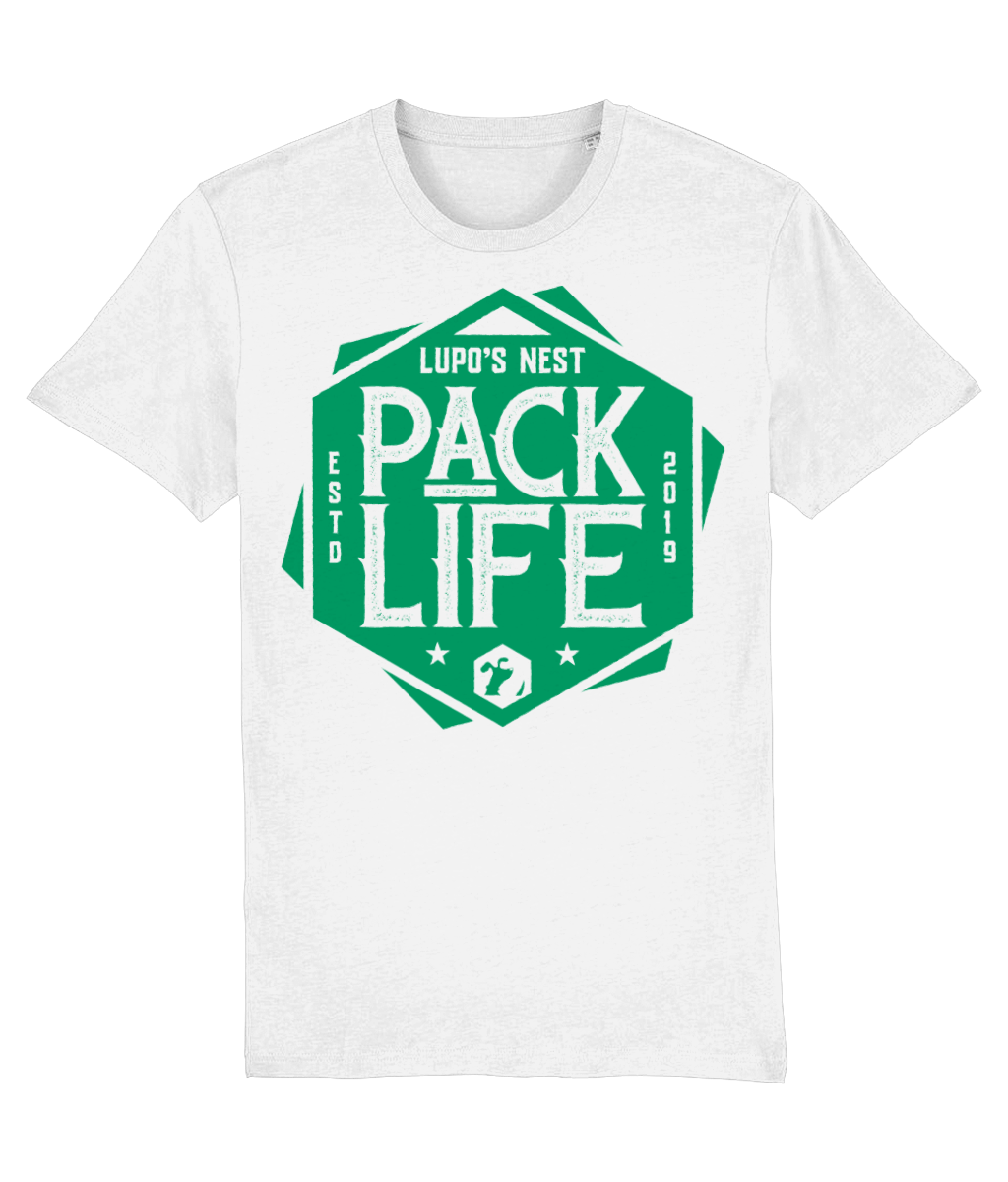 Lupo's Nest | 'Pack Life' Organic Cotton T-shirt - Green Logo