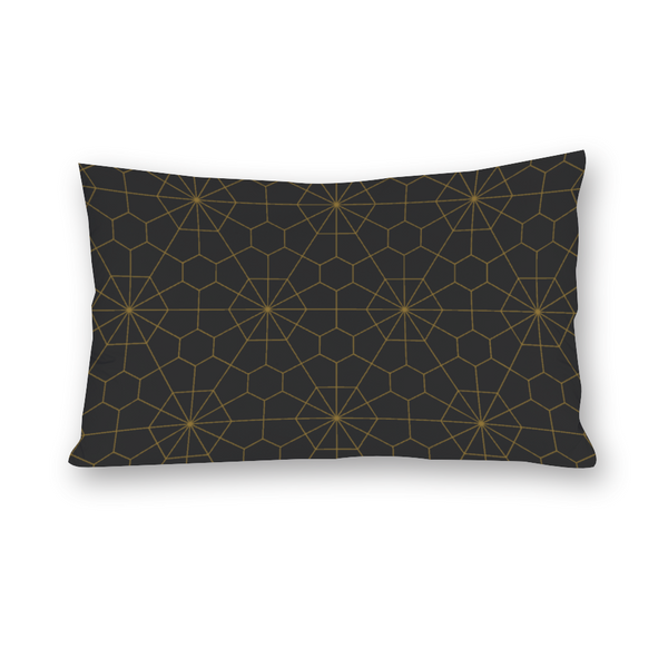Lupo's Nest Charcoal geometric pillow bed