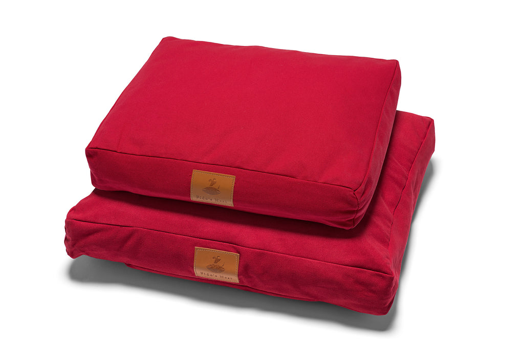 Fido's Nest | Luxury modern pillow dog bed. Eco-friendly, hypoallergenic, durable and machine washable. In Ruby Red.