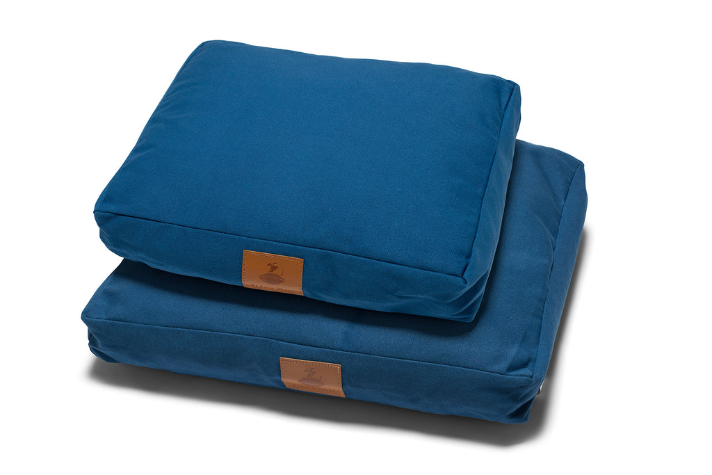 Fido's Nest | Luxury modern pillow dog bed. Eco-friendly, hypoallergenic, durable and machine washable. Choice of wool or hollow-fibre filling. In Azure Blue.