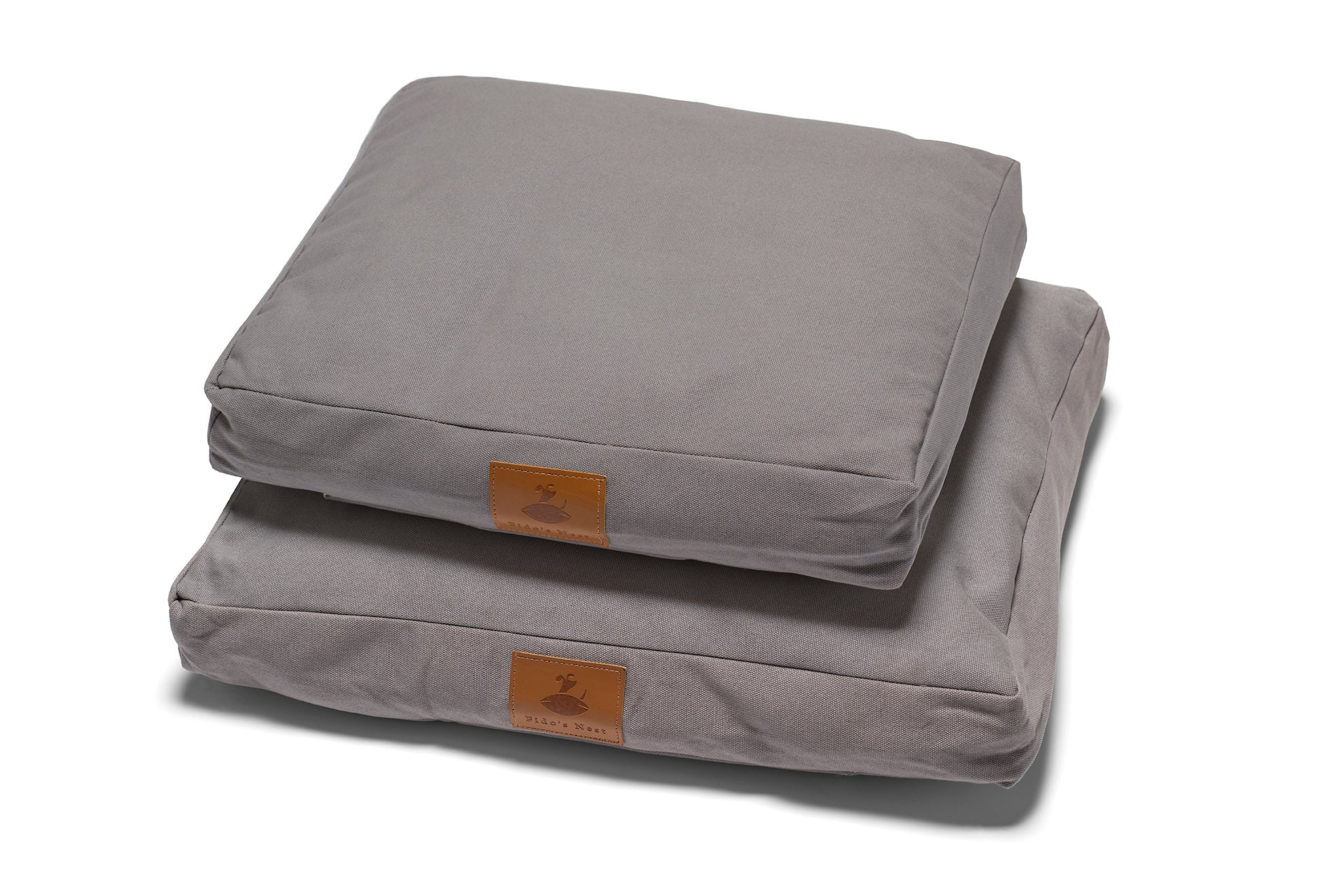 Lupo's Nest | Luxury modern pillow dog bed. Anti-allergy, durable and machine washable. Choice of wool or hollow-fibre filling. In Cool Grey.