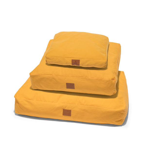 Lupo's Nest | Luxury modern pillow dog bed. Anti-allergy, hypoallergenic, durable and machine washable. Choice of wool or hollow-fibre filling. In Mustard Yellow.