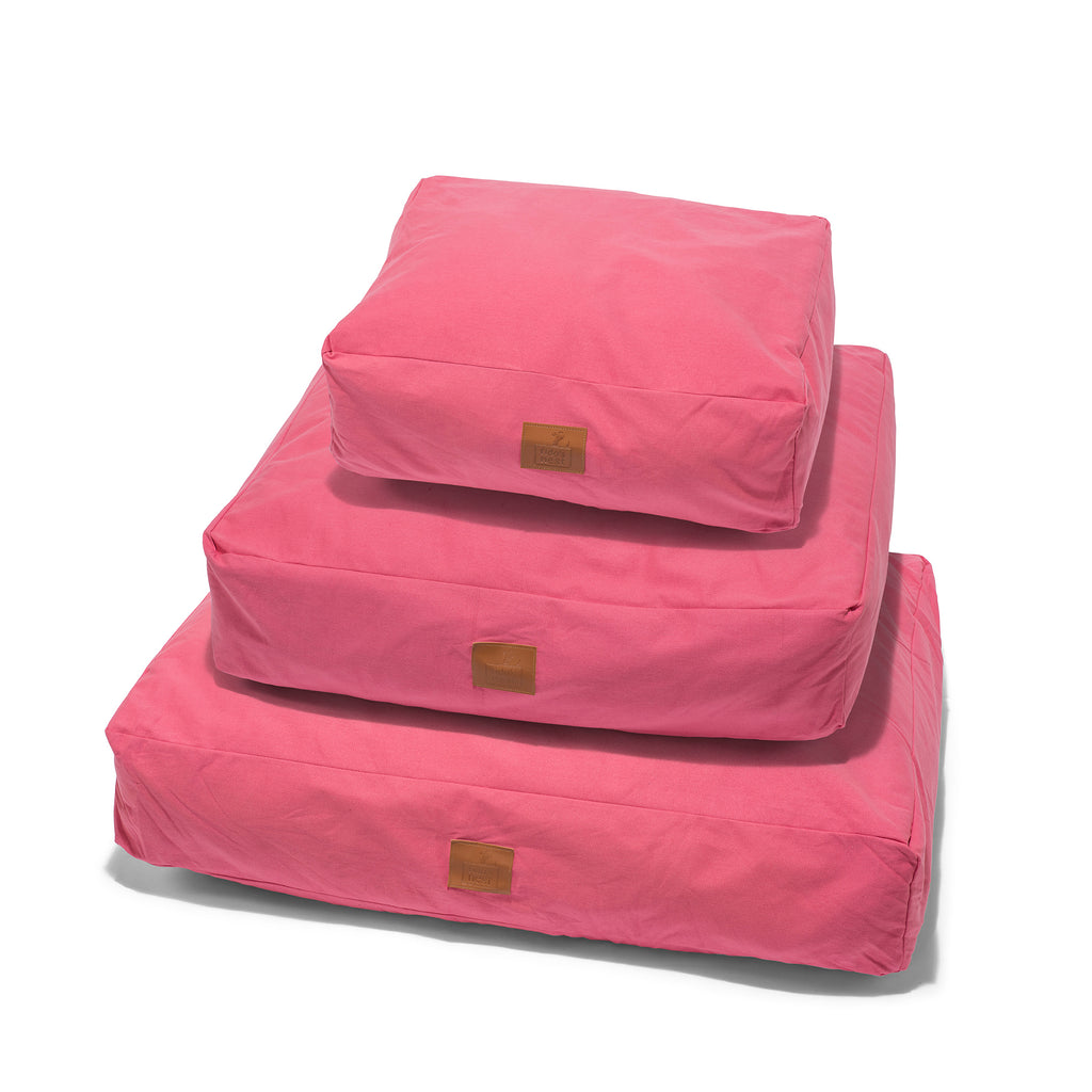 Fido's Nest | Luxury modern pillow dog bed. Eco-friendly, hypoallergenic, durable and machine washable. Choice of wool or hollow-fibre filling. In Pink.