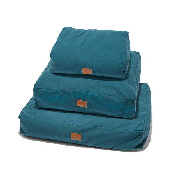 Lupo's Nest | Luxury modern pillow dog bed. Eco-friendly, anti-allergy pet bed, durable and machine washable. Choice of wool or hollow-fibre filling. In Teal.