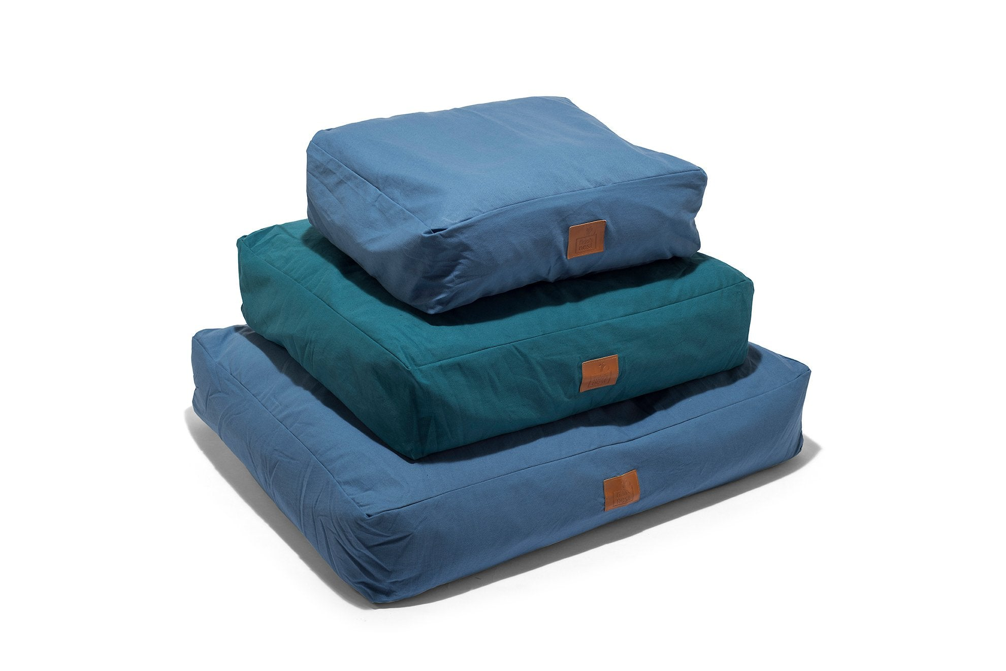 Fido's Nest | Luxury modern pillow dog bed. Eco-friendly, hypoallergenic, durable and machine washable. Choice of wool or hollow-fibre filling. In Periwinklr Blue.