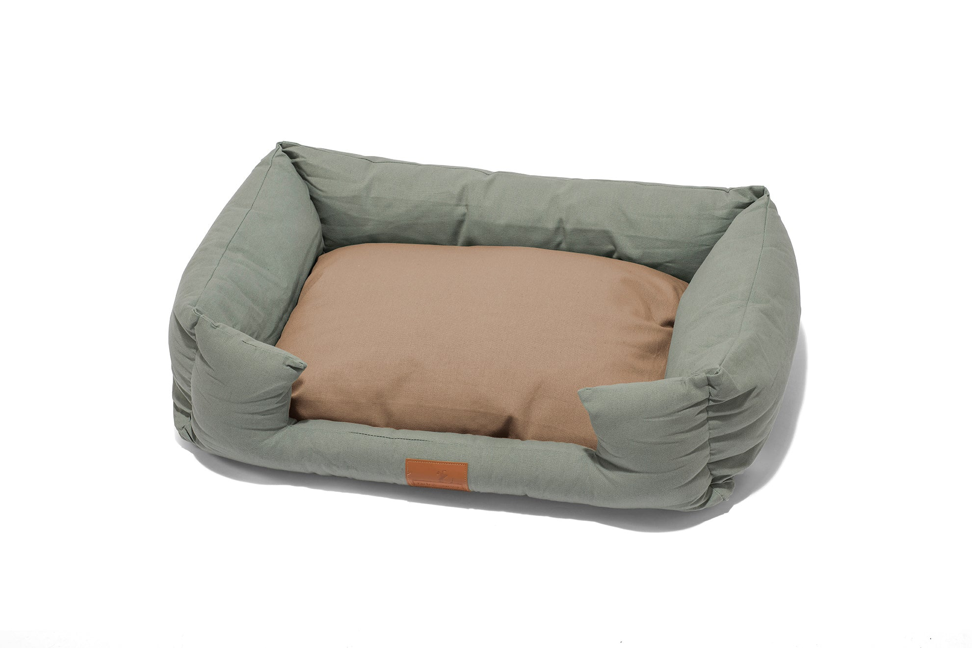 Fido's Nest | Luxury modern crib dog bed. Eco-friendly, hypoallergenic, durable and machine washable. Choice of wool or hollow-fibre filling. In Sage.
