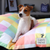 Gerty on Nestology Rainbow Pastel Square Standard Dog Bed by Lupo's Nest
