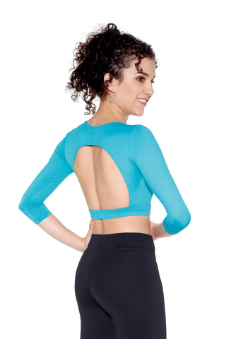 So Danca Jade crop top w 3/4 sleeves and large back opening