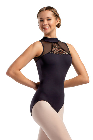 Adult halter leotard with mesh front detail