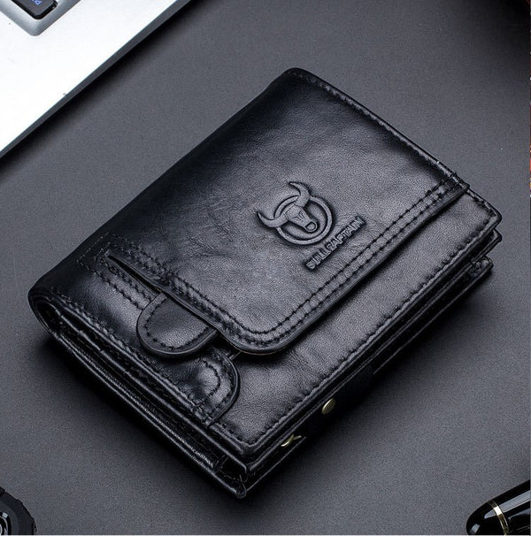 Men Bullcaptain Leather Wallet【Coffee/Black】