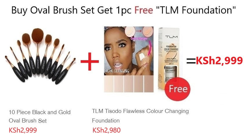 "10 Piece Black and Gold Oval Brush Set/Buy this product Get 1pc Free ""TLM Foundation"""