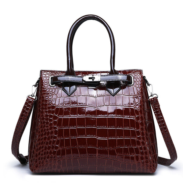 Women Crocodile Pattern Bag【Brown/Black/Red Color】