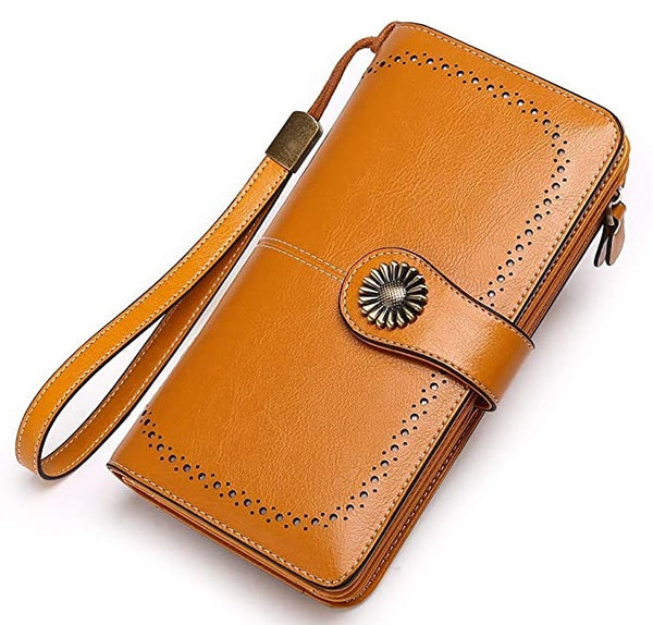 Women Vintage Style Leather Large Capacity Wallet【Green/Red/Brown】