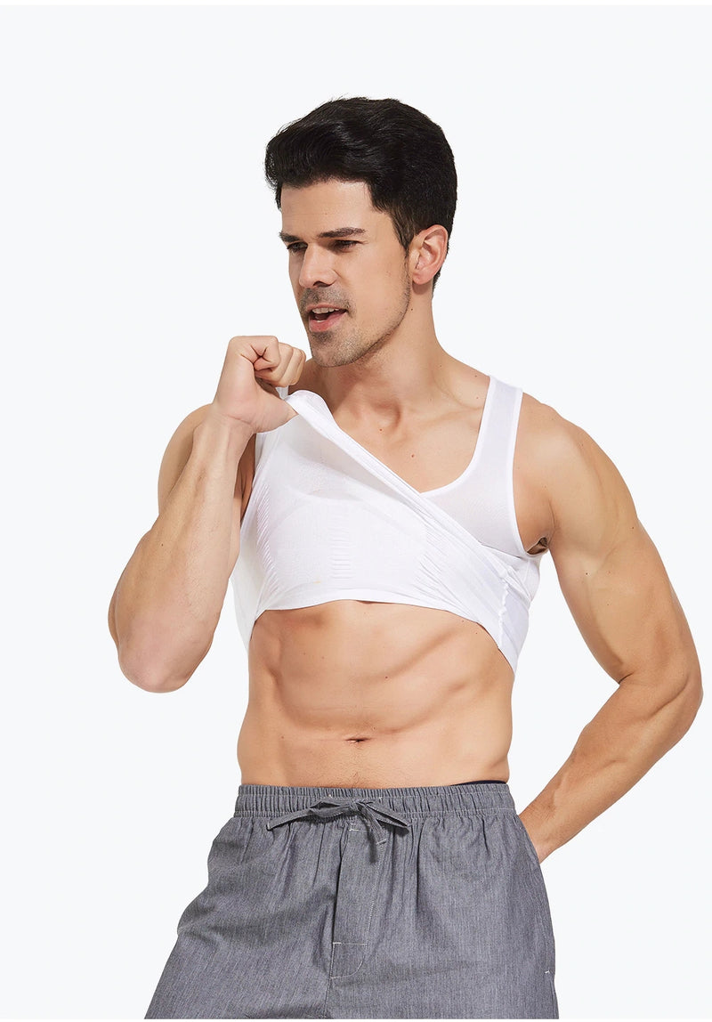 Men's Slimming Body Shaper Vest Shirt Abs Abdomen Slim【White Color】