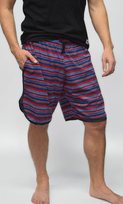 Men's Terry-Cloth Shorts in Blue/Red