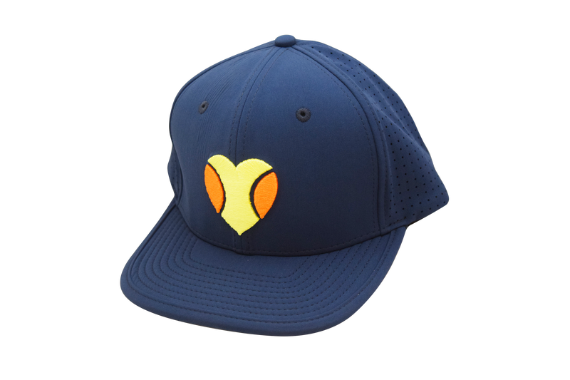 """I Love Beach Tennis"" Flat Bill Hat in Navy"