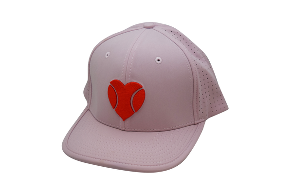 """I Love Beach Tennis"" Flat Bill Hat in Dusty Rose"