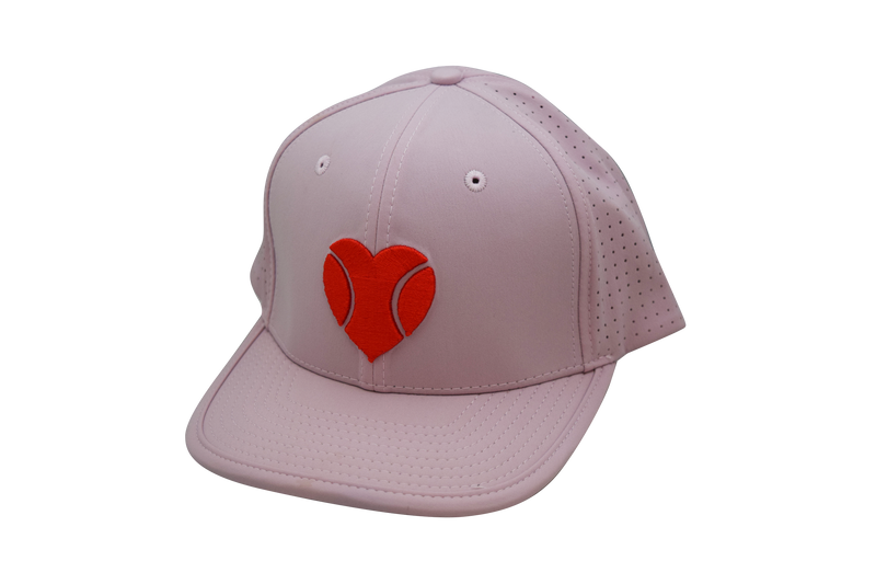 """I ❤️ Beach Tennis"" Flat Bill Hat in Dusty Rose"